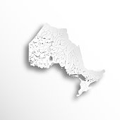 Provinces and territories of Canada - map of Ontario with paper cut effect. Rivers and lakes are shown. Please look at my other images of cartographic series - they are all very detailed and carefully