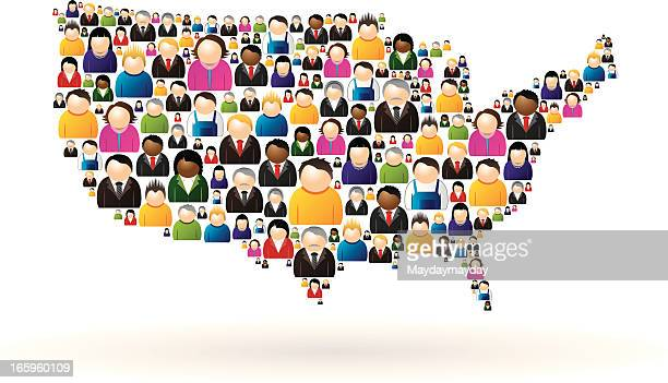 USA map of people