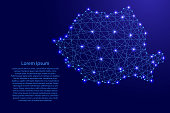 Map of Romania from polygonal blue lines and glowing stars vector illustration