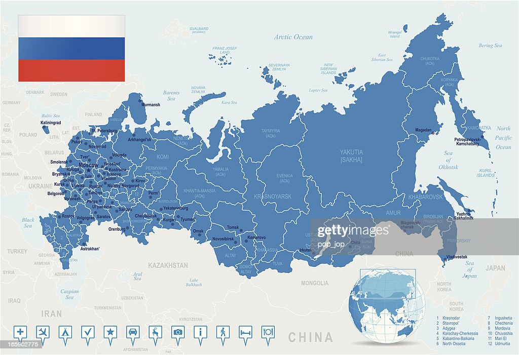 Map Of Russia States Cities Flag Navigation Icons Vector Art - Map of russia