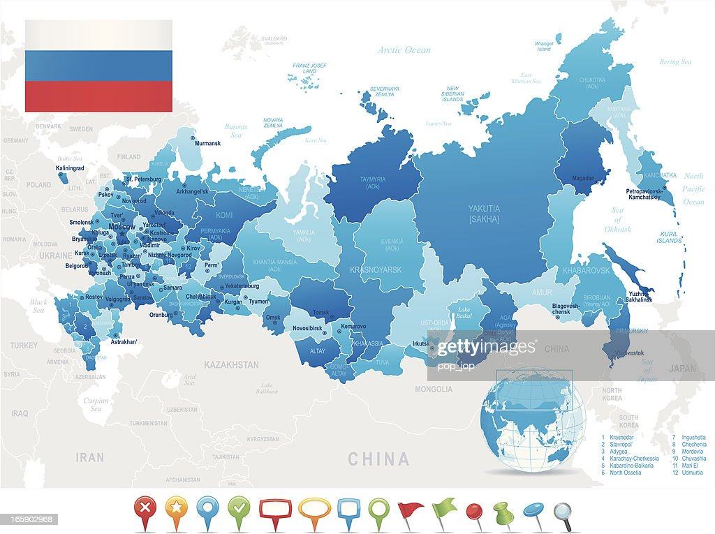 Map Of Russia States Cities Flag Navigation Icons Vector Art - China map states cities map