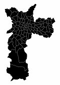 Dark map of Sao Paulo city with the districts borders