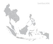 Map of Southeast Asia. Vector