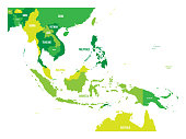 Map of Southeast Asia. Vector map in shades of green.