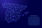 Map of Spain from polygonal blue lines and glowing stars vector illustration