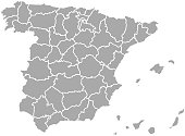 Map of Spain on white background. vector