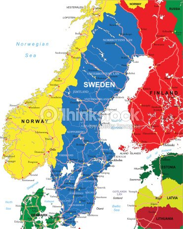 Map Of Sweden Including Norway And Finland Vector Art Thinkstock - Sweden map varmland