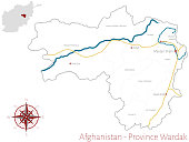 Large and detailed map of the afghan province of Wardak.