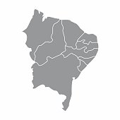 Gray map of the Brazil northeast region isolated on white background