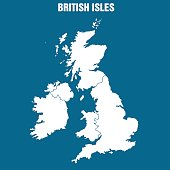 Vector Illustration of the British Isles in blue background