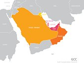 Map of the Gulf Cooperation Council (GCC)'s members. Vector