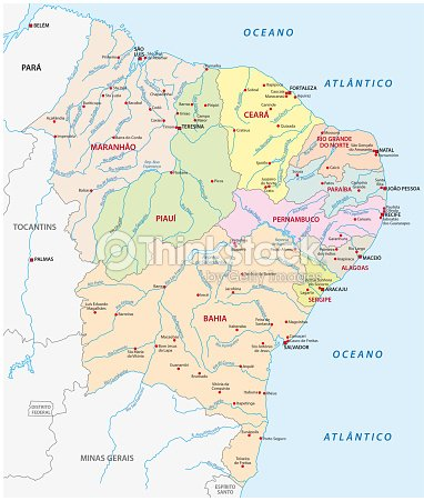 Map Of The Northeast Region Brazil Vector Art | Thinkstock