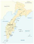 vector map of the russian far east region Kamchatka