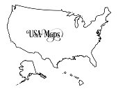 Map of The United States of America (USA) Outline Illustration on White Background.