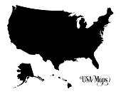 Map of The United States of America (USA) Silhouette Illustration on White Background.