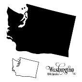 Map of The United States of America (USA) State of Washington - Illustration on White Background.