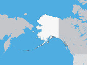 Vector illustration of the Detailed Political Map of the US Federal State of Alaska
