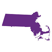 map of the U.S. state Massachusetts vector