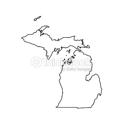 Map Of The Us State Michigan Vector Art Thinkstock - Michigan us map