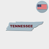Map of the U.S. state of Tennessee on a grey background. American flag, state name