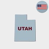 Map of the U.S. state of Utah on a white background. American flag, state name