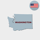 Map of the U.S. state of Washington on a grey background. American flag, state name