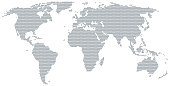 Map of the world made of gray dots. Dotted silhouette, outline and surface of the Earth under Robinson projection. Dots in a row. Isolated illustration on white background. Vector.