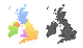 Map of United Kingdom and Ireland, Vector Colorful and Black Illustrations in creative style.