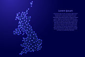 Map of United Kingdom from polygonal blue lines and glowing stars vector illustration