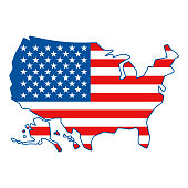 Map of United States of America. American Flag colors.