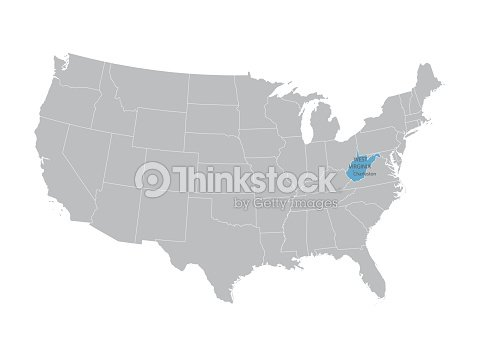 Map Of United States With Indication Of West Virginia Vector Art - Us-map-1908