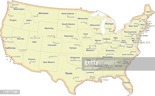 Map Of United States With State Border Lines Vector Art Getty Images - Southern us states map borders