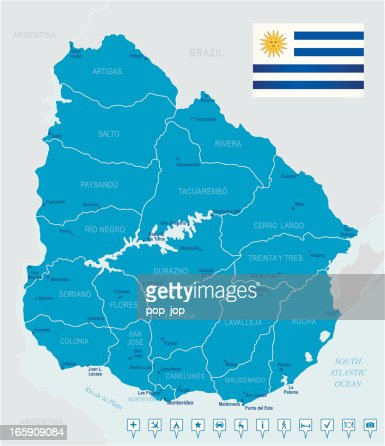 Map Of Uruguay States Cities Flag And Navigation Icons Vector Art - Map of uruguay