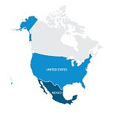 Map of USA and Mexico. Vector.