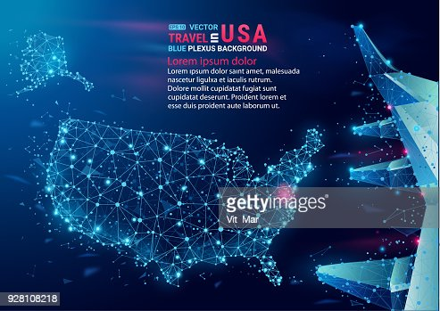Map of USA. Floating blue plexus geometric background. Abstract vector. : stock vector
