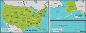 A map of America with all state names, state capitals and other major cities. Organised in vector version in easy to use layers. Colors and strokes also easily changed. Layers include