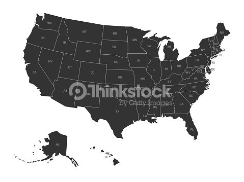 Map of USA with state abbreviations : stock vector