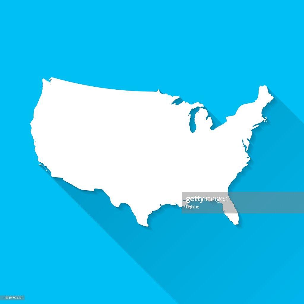 Usa Map On Blue Background Long Shadow Flat Design Vector Art - Usa map design