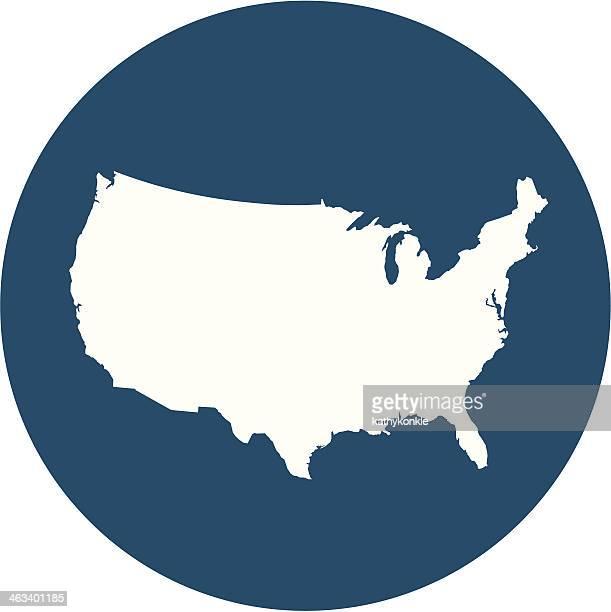 USA map on blue circle