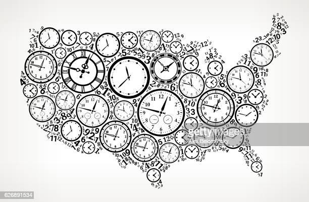 US Map on Time and Clock Vector Icon Pattern