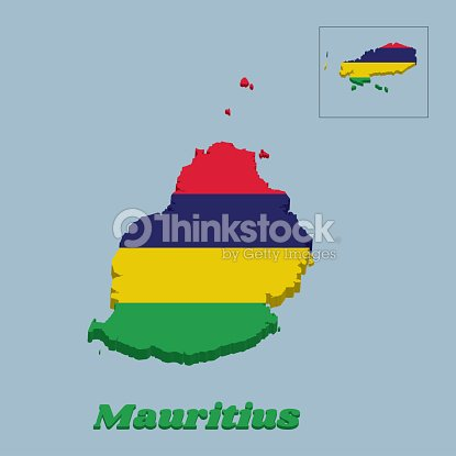 3d Map Outline And Flag Of Mauritius Four Horizontal Bands Of Red ...