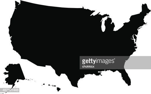 Usa Map Outline Or Silhouette Vectorkunst