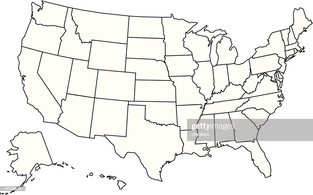 Usa Map Outline Vector Art Getty Images - Usa map outline vector