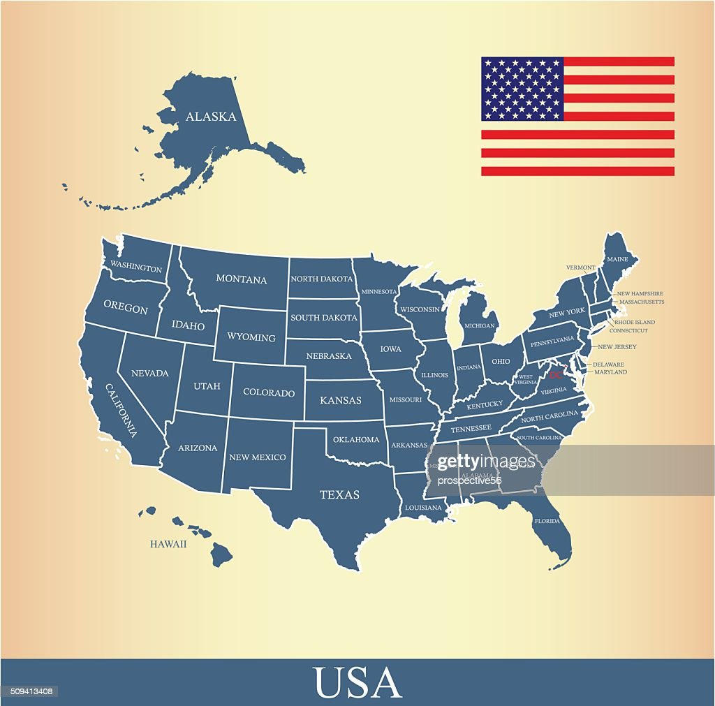 Usa Map Outline Vector With Us Flag And States Names Vector Art