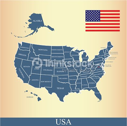 Usa Map Outline Vector With Us Flag And States Names Vector Art - Us map outline vector