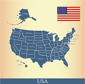 USA flag outline vector and United States map vector outline with states borders and names, capital location and name, Washington DC, in a creative design