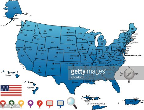 Usa Map Outline With State Capitals And Its Territories Vector Art - The us map with capitals