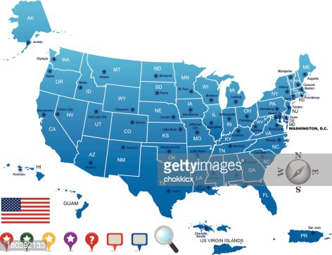 United States Of America Map Vector Art Getty Images - Guam on a us map