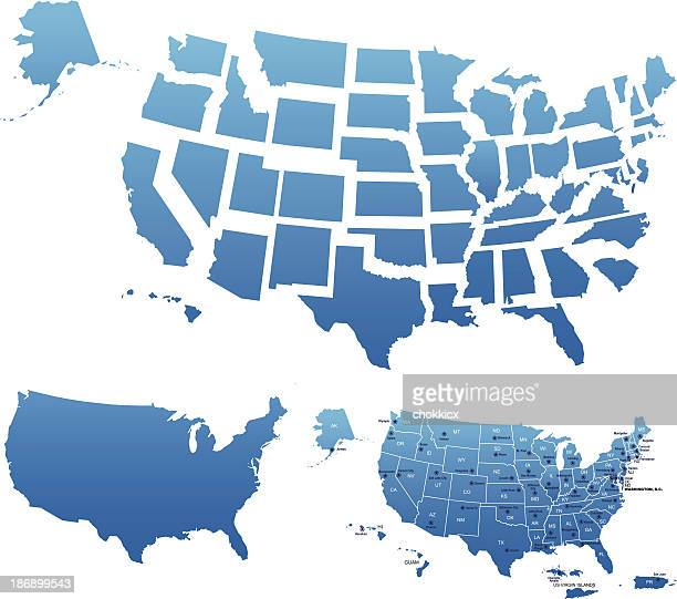 USA map outline with state capitals and its territories