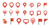 map pin icon set isolated on white background